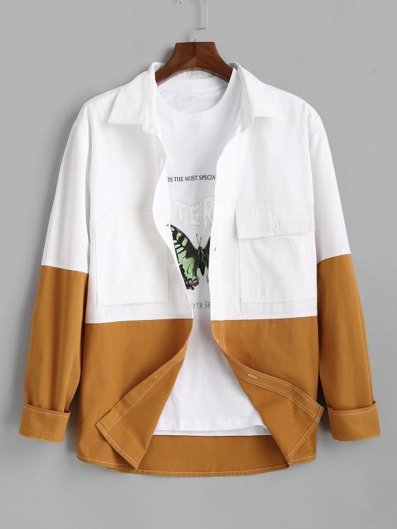 Camicia Bicolore con Maniche Lunghe - Bianca 2XL