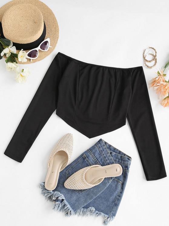 Solid Off Shoulder Scarf Cropped Top - أسود M