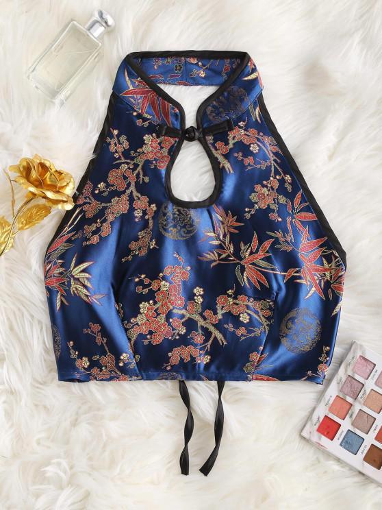 best Flower Jacquard Oriental Keyhole Tank Top - BLUE S
