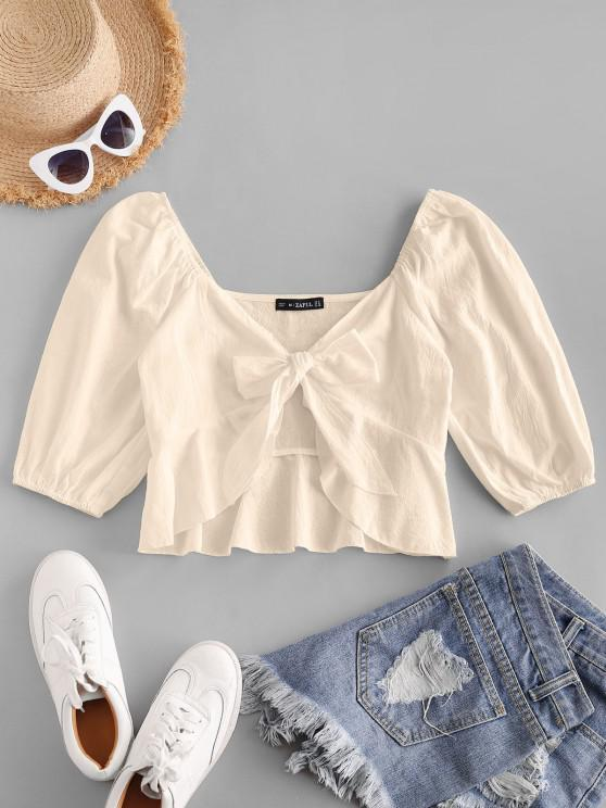 ZAFUL Plunging Tied Peplum Crop Blouse - أصفر فاتح XL