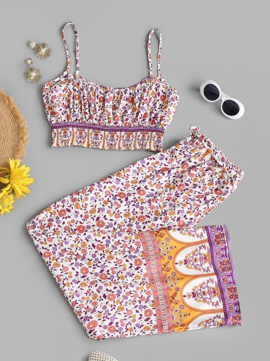 fancy Smocked Bohemian Floral Belted Two Piece Set - LIGHT PINK L