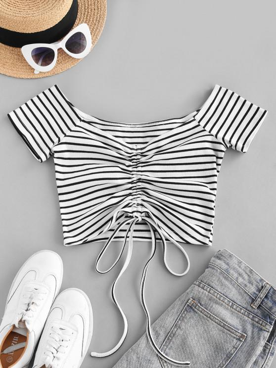 lady ZAFUL Off The Shoulder Stripe Cinched Cropped Tee - WHITE S