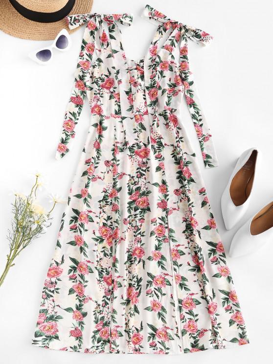 buy ZAFUL Tie Shoulder Floral Print High Slit Dress - WHITE S