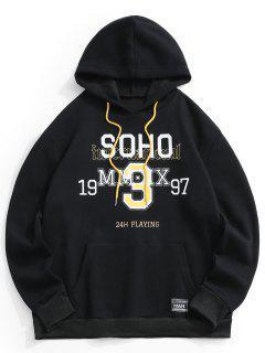 Soho Letter Graphic Fleece Lined Hoodie - Black L