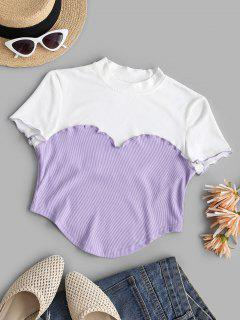 Lettuce Trim Stitching Two Tone Baby Tee - Light Purple M