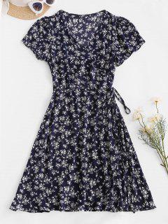 Ditsy Blumen Wickeln Minikleid - Tiefes Blau L