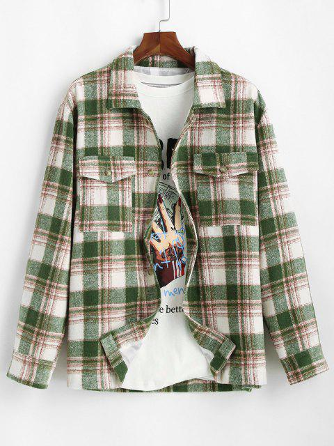 outfits Plaid Pocket Button Up Wool Jacket - DEEP GREEN S Mobile