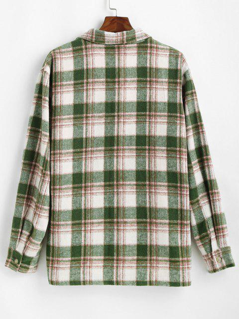outfit Plaid Pocket Button Up Wool Jacket - DEEP GREEN L Mobile