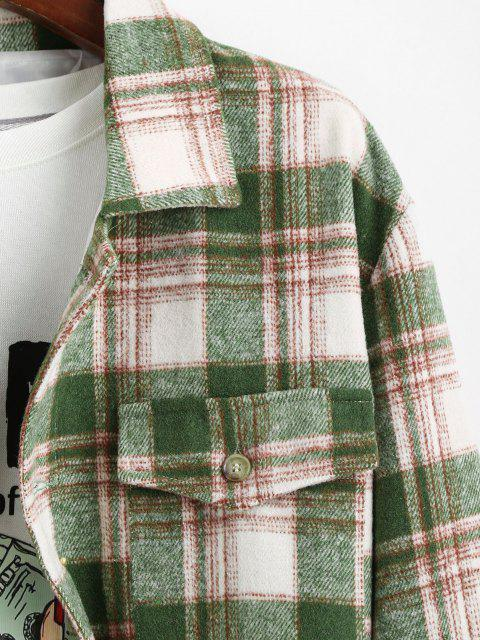 womens Plaid Pocket Button Up Wool Jacket - DEEP GREEN XL Mobile