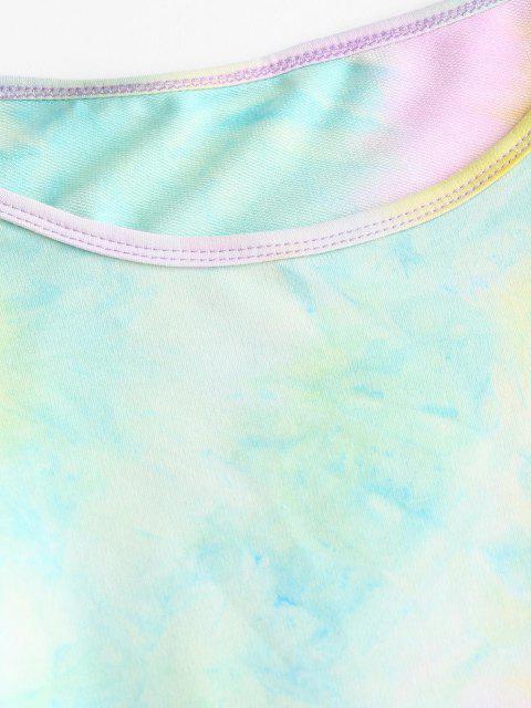 lady Cropped Tie Dye Raglan Sleeve Two Piece Set - YELLOW M Mobile