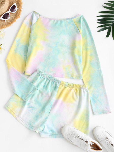 online Cropped Tie Dye Raglan Sleeve Two Piece Set - YELLOW S Mobile