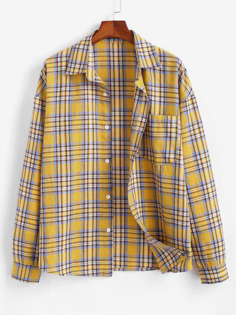 buy Plaid Drop Shoulder Pocket Shirt - YELLOW M Mobile