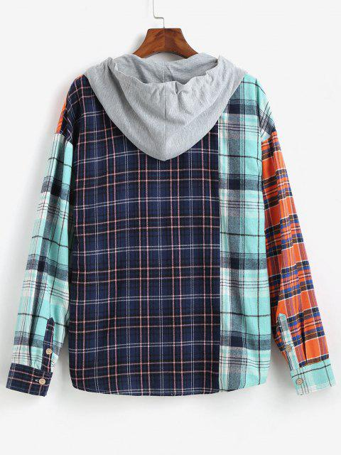 shop Colorblock Plaid Long Sleeve Hooded Shirt - MULTI L Mobile