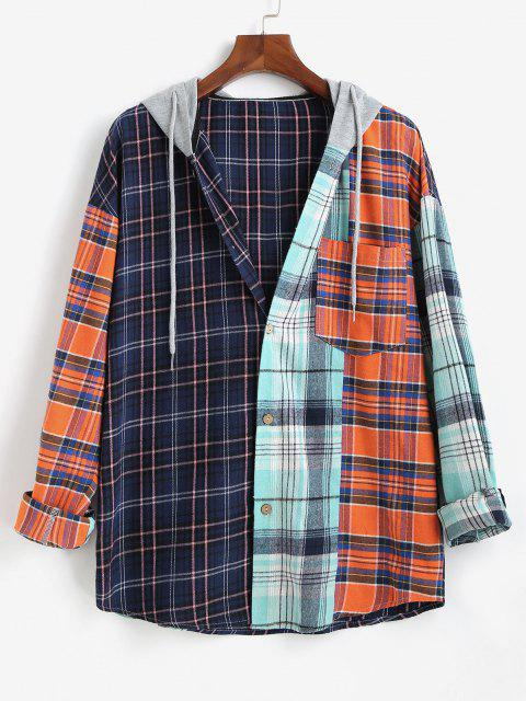 shops Colorblock Plaid Long Sleeve Hooded Shirt - MULTI XL Mobile