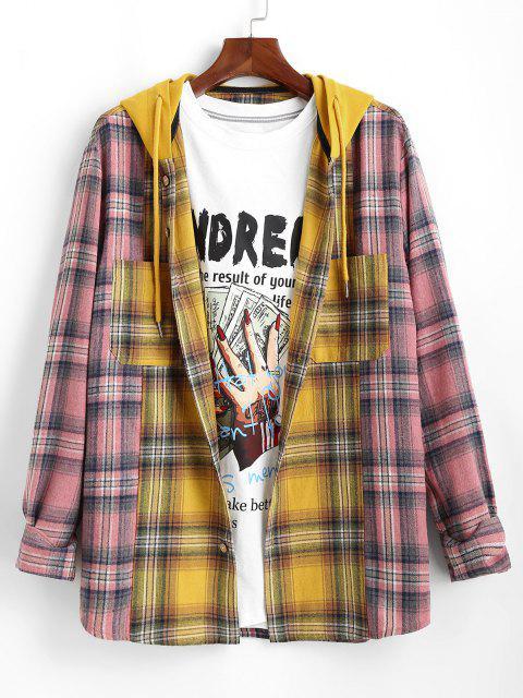 プラッド配色パネルのフード付きシャツ - 黄 XL Mobile