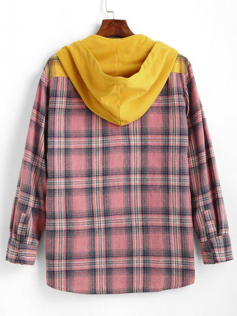 trendy Plaid Colorblock Panel Hooded Shirt - YELLOW 2XL Mobile