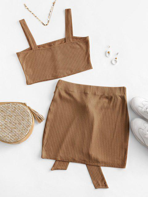 latest ZAFUL Button Embellished Belted Bodycon Skirt Set - COFFEE S Mobile