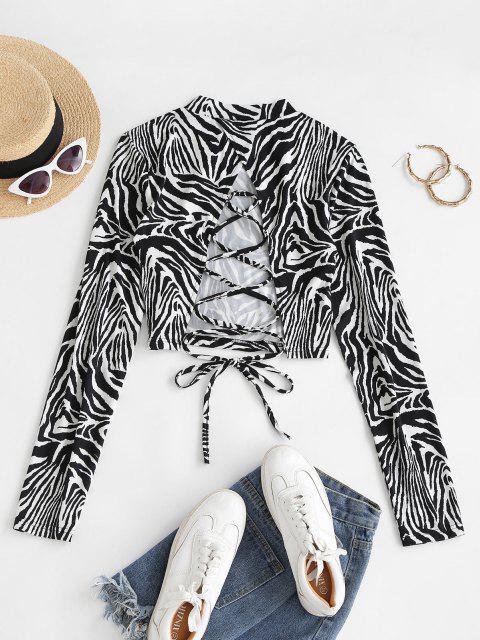 Camiseta mangas compridas com laço estampa de zebra - Preto XL Mobile