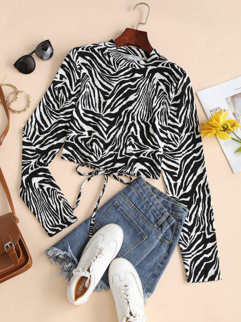 shop Zebra Print Lace-up Long Sleeve Tee - BLACK L Mobile