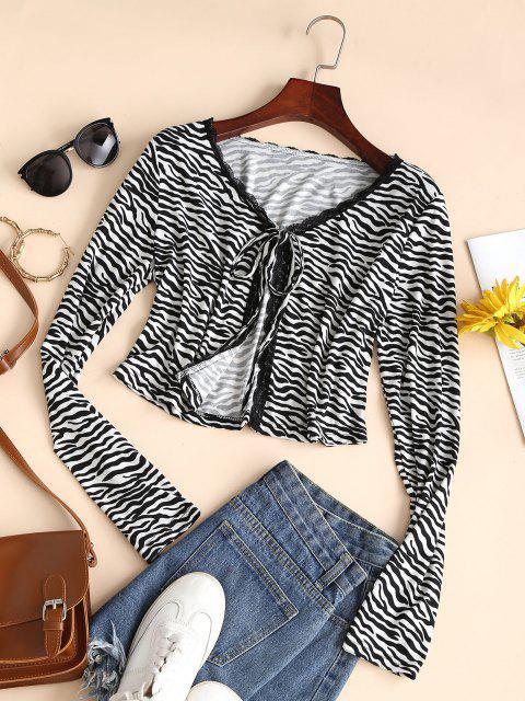 shops Zebra Print Lace Trim Long Sleeve Tied Tee - BLACK XL Mobile