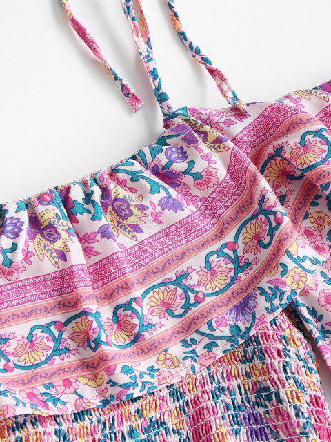 Robe Epaule Nouée Imprimée Style Bohémien à Volants - Rose clair S Mobile