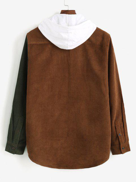 trendy Two Tone Butterfly Embroidery Corduroy Shirt - DEEP COFFEE S Mobile