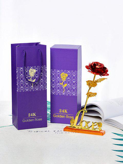 24K Gold Pleated Artificial Love Rose - Multi  Mobile