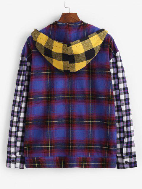 配色のタータンチェック柄フード付きシャツ - マルチ 2XL Mobile