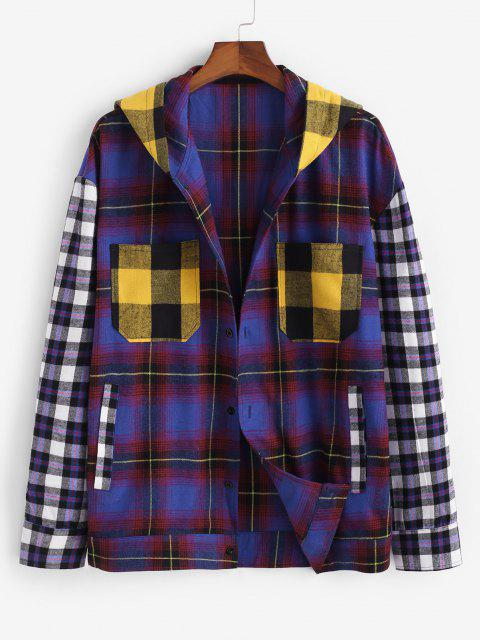 buy Colorblock Plaid Pattern Hooded Shirt - MULTI L Mobile
