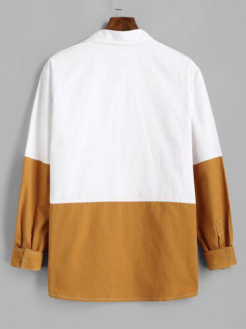 ツートン長袖シャツ - 白 3XL Mobile