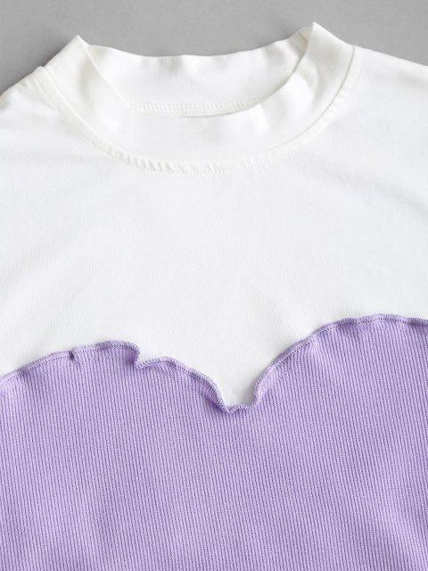 online Lettuce Trim Stitching Two Tone Baby Tee - LIGHT PURPLE M Mobile
