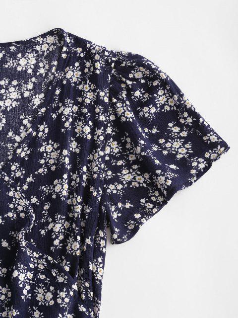 Ditsy Blumen Wickeln Minikleid - Tiefes Blau L Mobile