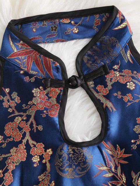 best Flower Jacquard Oriental Keyhole Tank Top - BLUE S Mobile