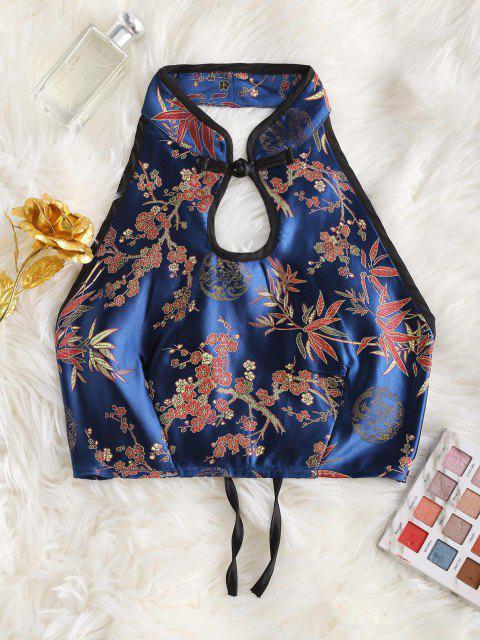 Flower Jacquard Oriental Keyhole Tank Top - أزرق S Mobile
