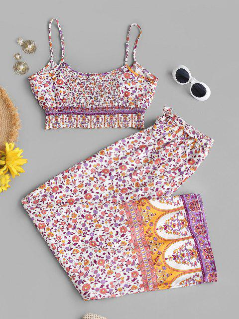 hot Smocked Bohemian Floral Belted Two Piece Set - LIGHT PINK S Mobile