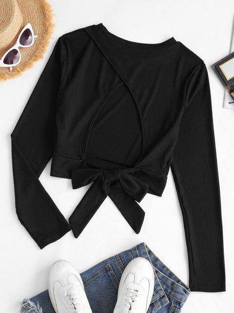best Tie Cut Out Back Ribbed Cropped Tee - BLACK L Mobile