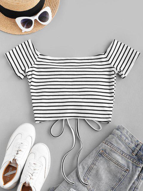 lady ZAFUL Off The Shoulder Stripe Cinched Cropped Tee - WHITE S Mobile