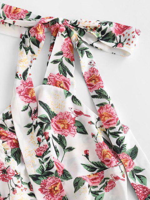 ZAFUL Vestido de Abertura Alta con Estampado de Flores con Lazo - Blanco S Mobile
