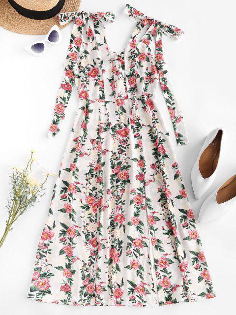 ZAFUL Tie Shoulder Floral Print High Slit Dress - أبيض S Mobile