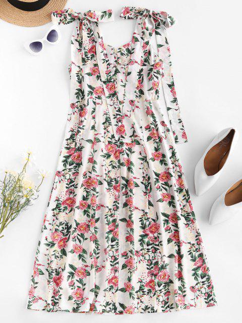shop ZAFUL Tie Shoulder Floral Print High Slit Dress - WHITE L Mobile