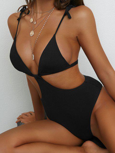 fancy ZAFUL Ribbed Backless Tie Shoulder Trikini Swimsuit - BLACK S Mobile