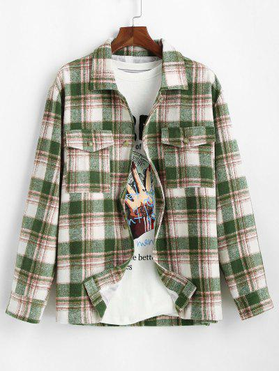 Plaid Pocket Button Up Wool Jacket - Deep Green Xl