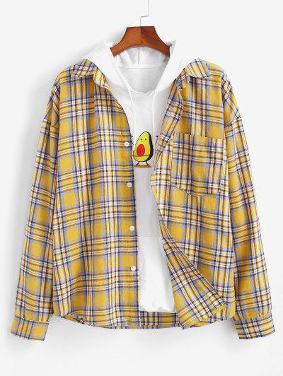 Plaid Drop Shoulder Pocket Shirt - Yellow M