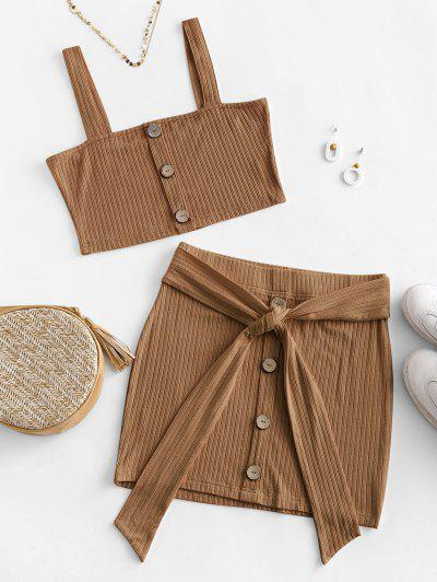 ZAFUL Button Embellished Belted Bodycon Skirt Set - Coffee M