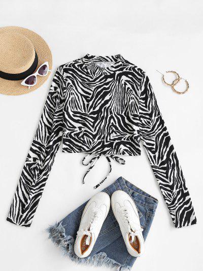 Zebra Print Lace-up Long Sleeve Tee - Black L