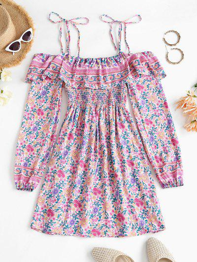 Bohemian Printed Tie Cold Shoulder Ruffles Dress - Light Pink L
