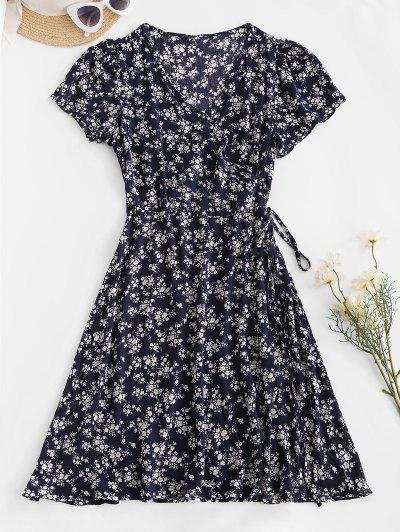 Ditsy Floral Wrap Mini Dress - Deep Blue M