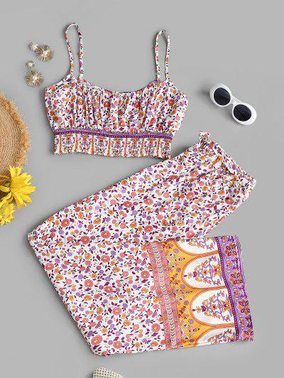 Smocked Bohemian Floral Belted Two Piece Set - Light Pink S