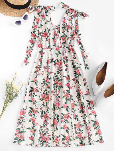 ZAFUL Tie Shoulder Floral Print High Slit Dress - White S