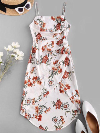 ZAFUL Asymmetric Floral Print Ruched Midi Dress - White L